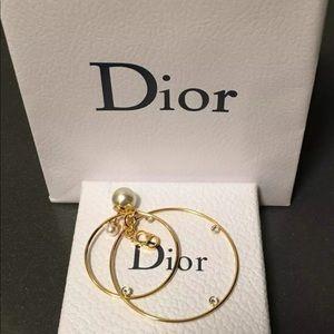 Authentic Dior Tribal Earring Hoop Pearl New